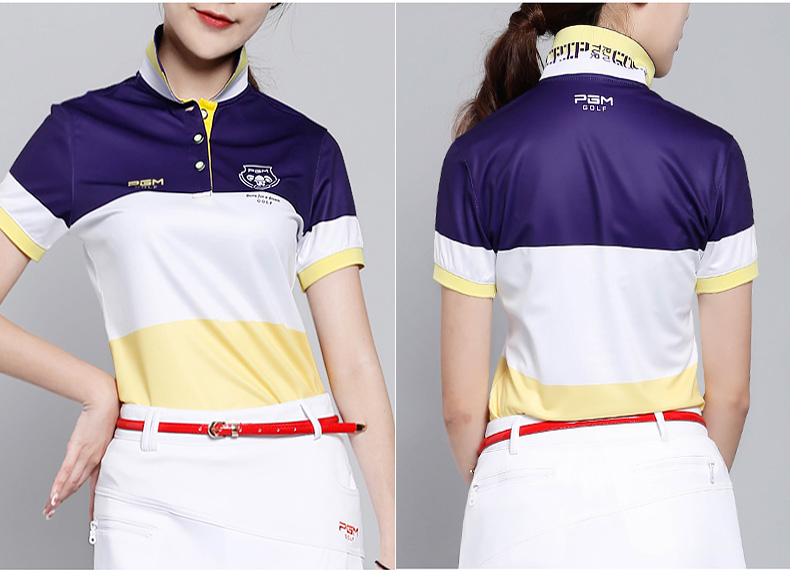 2017 PGM golf clothing ladies Korean version of the golf Stitching color short sleeve T shirt breathable stretch,Free shipping картридж epson xl magenta xp33 203 303 c13t17134a10 page 1