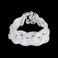 Women S Jewelry 925 Sterling Silver Fashion Charm 8 Wide 25mm Cross Mesh Chains Bracelets Gift