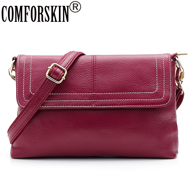 COMFORSKIN Premium First Layer Of Cowhide Leather Women Handbags European And American Travelling Litchi Pattern Hand Bags