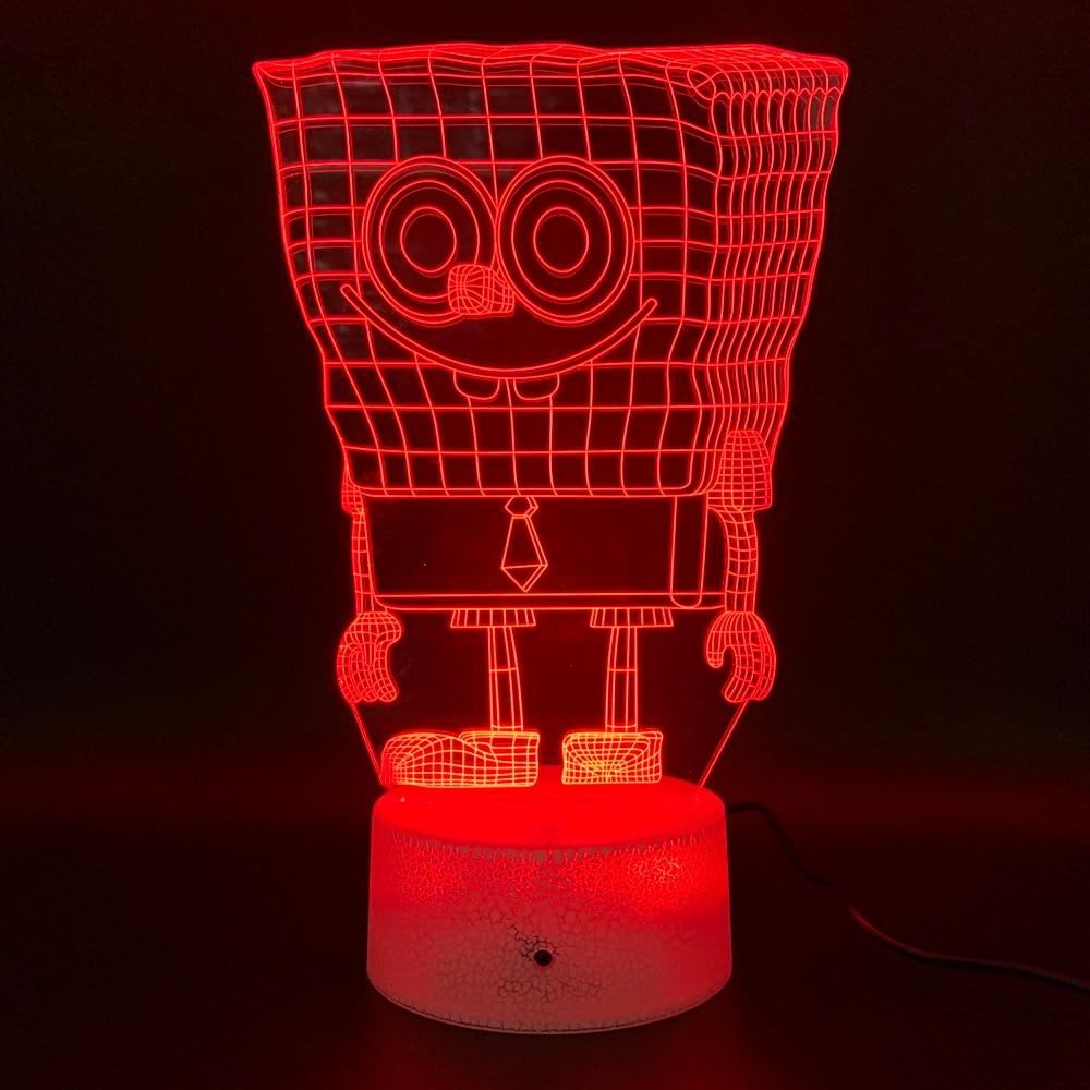 Decoration Crafts SpongeBob SquarePants Moustache Figurines Led Night Light Birthday Gift for Children Bedroom 3d Lamp