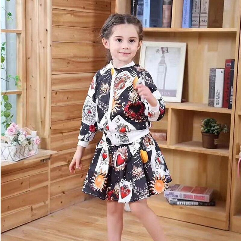 Spring Autumn girls 2 pcs set baby jacket + skirt kids fashion suit children fashion clothes poker heart floral print 3 to 8 yrs