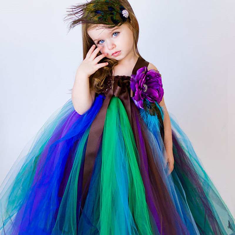 2 14Y Girls Peacock Tutu font b Dress b font Long Fluffy Tutu Tulle font b