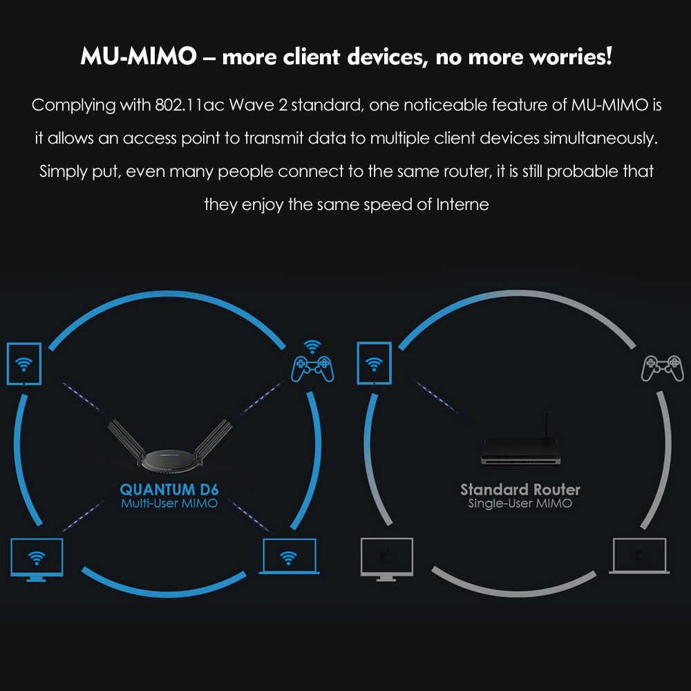 Routeur Wi-Fi intelligent double bande MU-MIMO Wavlink AC2100 avec routeur WiFi sans fil Touchlink 5 GHz/1733 Mbps + 2.4 GHz/300 Mbps Gigabit Lan