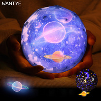 LED Night Light Stars Starry Sky Planet Rotate Projector USB Night Lamp For Kids Room Moon