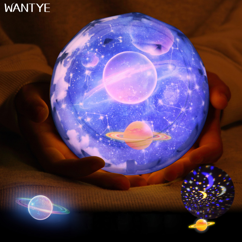 LED Night Light Stars Starry Sky Planet Rotate Projector USB Night Lamp for Kids room Moon Earth Light for Children Gifts