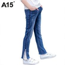 3fb2d1dc8a808e A15 Marca Della Ragazza Dei Jeans Primavera 2018 Bambini Jeans Strappati  per Ragazze Bambini Jeans di modo Dei Pantaloni Dei Ves.