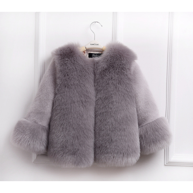 Fashion Winter Girls Fur Coat Elegant Girl Faux Fur Jackets And Coats Thick Warm Parka Kids