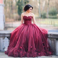 Burgundy Ball Gown Evening Prom Quinceanera Dresses Sweetheart Lace Tulle Petal Embellished Floor Length Sweet Formal Lace App