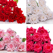 High quality rose artificial flowers silk home decoration for wedding 5pcs/set Free Shipping