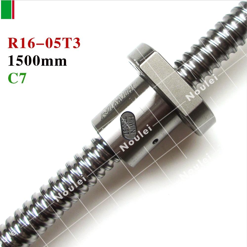 HIWIN FSI 1605 C7 1500mm ball screw 5mm lead with R16-05T3-FSI ballnut for high staility CNC diy nut hiwin fsi 4005 c7 1600mm ball screw 5mm lead with r40 5t3 fsi ballnut and end machined for high stability linear cnc diy kit set