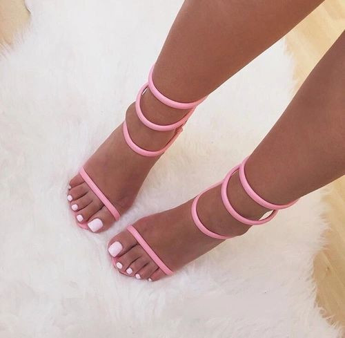 young ladies hot selling concise model pink strap sandals stiletto heel  thin strappy dress shos size US10 b52c569ea