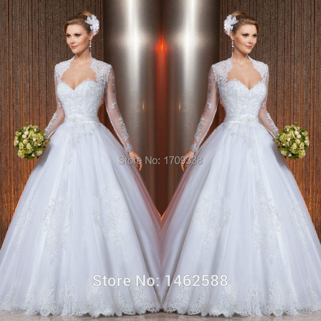 Low Waist Wedding Gowns: Modest Lace Appliques Long Sleeves Wedding Dress Princess