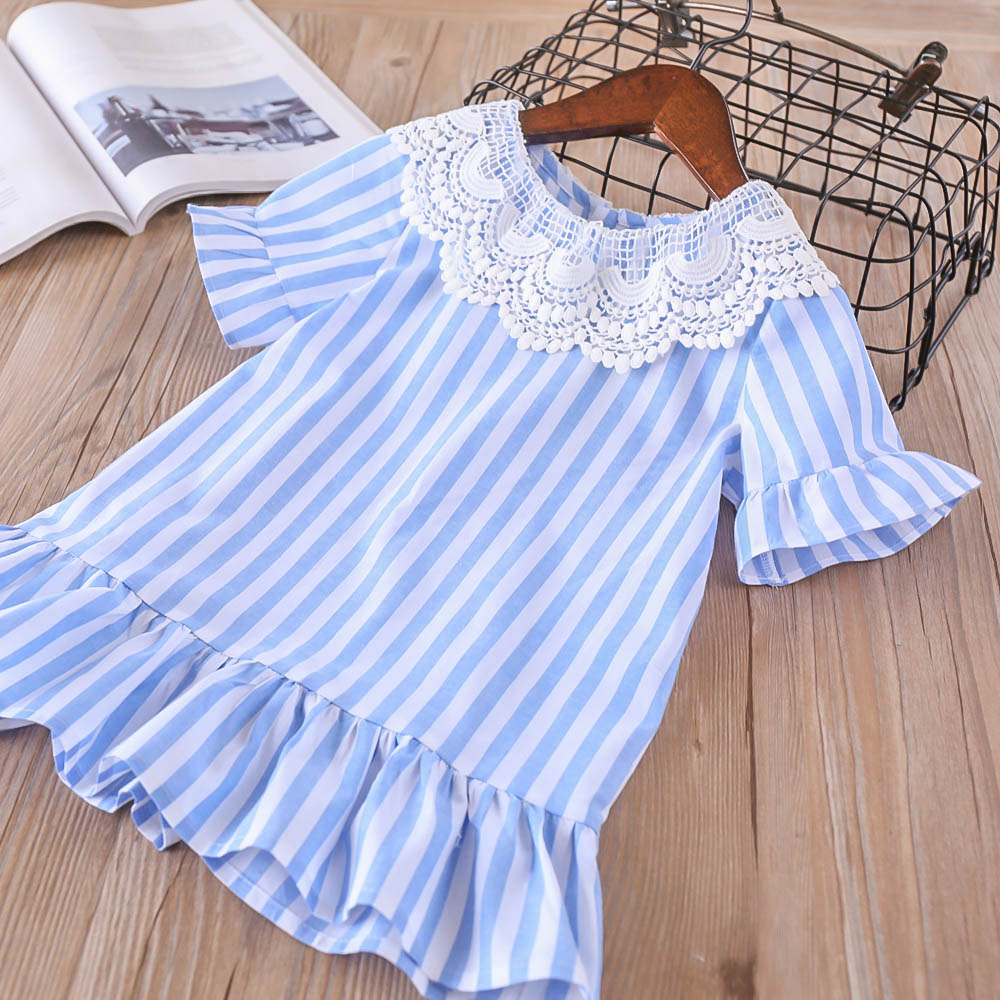 Hurave short sleeve striped dress Kids Clothes baby Girl clothes Children Summer Clothing Casual lace ruffles dress summer girl dress striped short sleeve dress for girls cotton casual o neck kids girl vestidos girl clothes
