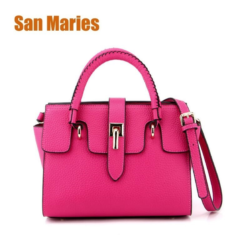 San Maries Women Genuine Leather Handbags Fashion Female Messenger Bags Crossbody Shoulder Bag Candy Color Lady Trapeze Clutches san maries 100% genuine leather women handbags 2018 new arrival female korean fashion totes crossbody bag shoulder bags handbags