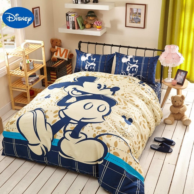 Attractive Blue Disney Cartoon Mickey Mouse 3D Printing Bedding Set For Kids Bedroom  Decor Cotton Bed Sheets