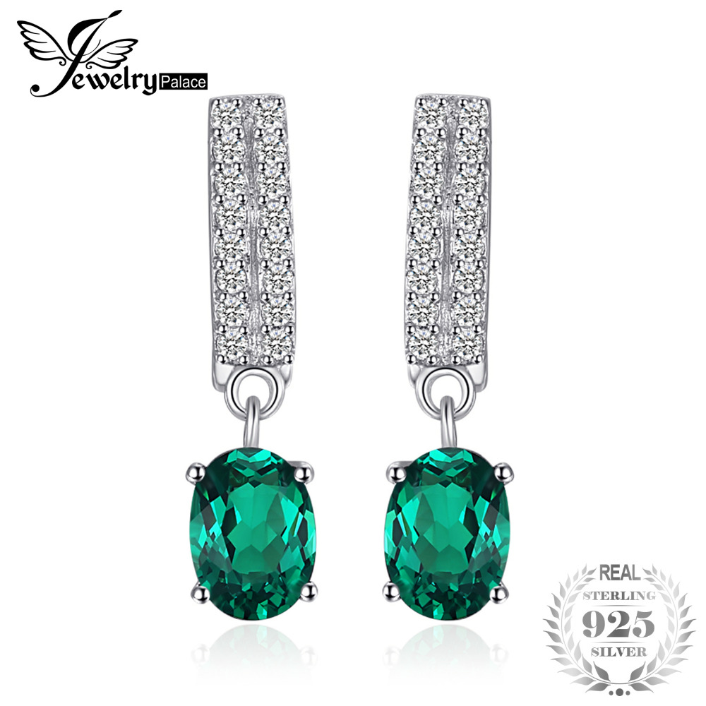 JewelryPalace Bornstone 1.7ct Oval Nano Russian Simulated Emerald Clip Earrings 100% 925 Sterling Silver Fashion Jewelry Gift