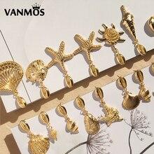 Vanmos New Bohemia Gold Color Metal Shell Drop Earrings for Women's Girl's Summer Beach Ocean Sea Star Starfish Pendant Earrings 2019 new 1 pc shell drop earrings plated gold metal scallop sea shell drop earrings beach jewlery