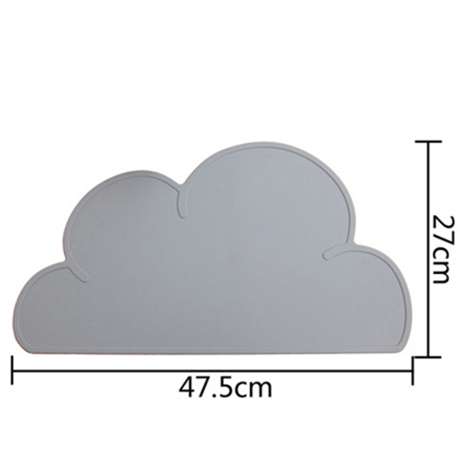 Cute Silicone Placemat FDA Bar Mat Baby Kids Cloud Shaped Plate Mat Table Mat BPA Free Waterproof Set Home Kitchen Pads 47x27cm (7)
