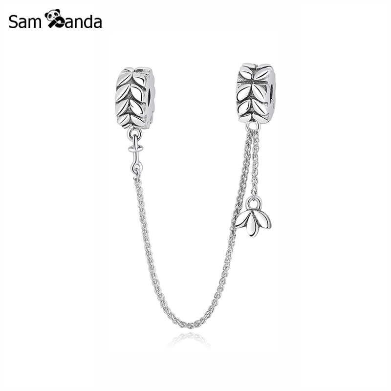 52a7d00f3de5f US $11.59 40% OFF|Original 100% 925 Sterling Silver Bead Charm Grains of  Energy Safety Chain Charms Fit Pandora Bracelets Women Jewelry-in Beads  from ...