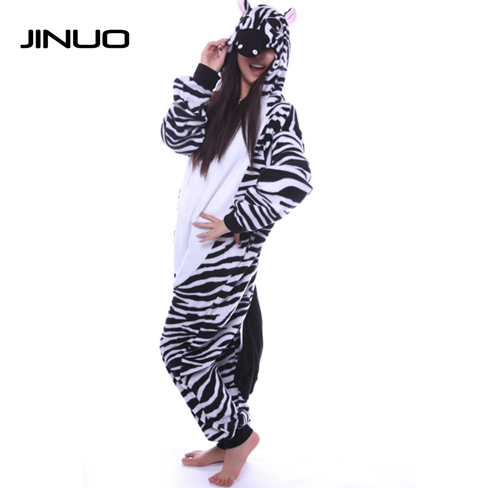 Jinuo Cospaly Adult Flannel Zebra Onesie Hooded Pajamas