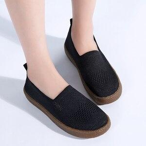 Image 4 - STQ 2020 automne femmes baskets chaussures femmes respirant maille plat baskets chaussures ballerines dames sans lacet mocassins chaussures 3399