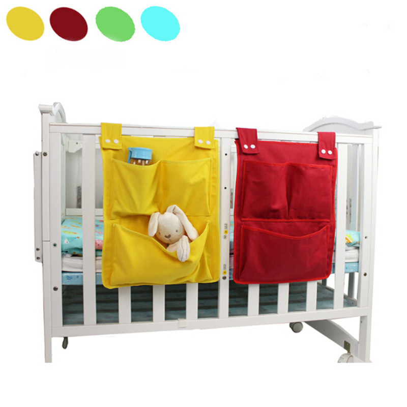 1PC Multifunction Hanging Storage Bag Baby Cot Bed Crib Organizer Toy Diaper Pocket For Newborn Canvas Bed Hanging Bag