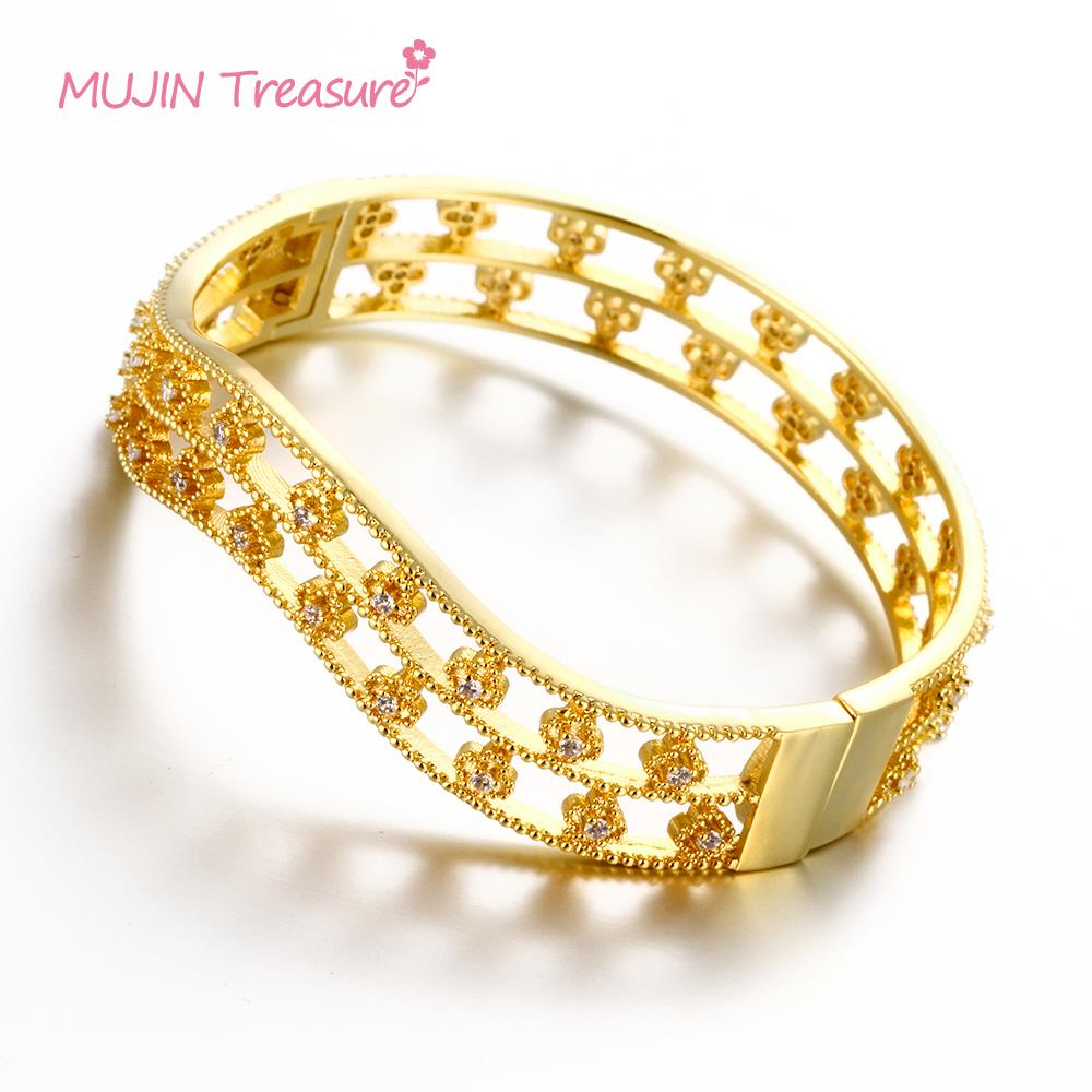 Hot Promotion 2pcs Lot Vintage Gold Bangles Luxury Indian Wedding Bracelets Women Gift Jewelry Freeshipping 150804 In From