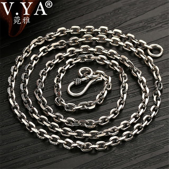 V.YA 2.8MM Solid 925 Sterling Silver Men Chain Long Necklace S925 Thai Silver Jewelry Male Necklaces 55cm 60cm 65cm 70cm