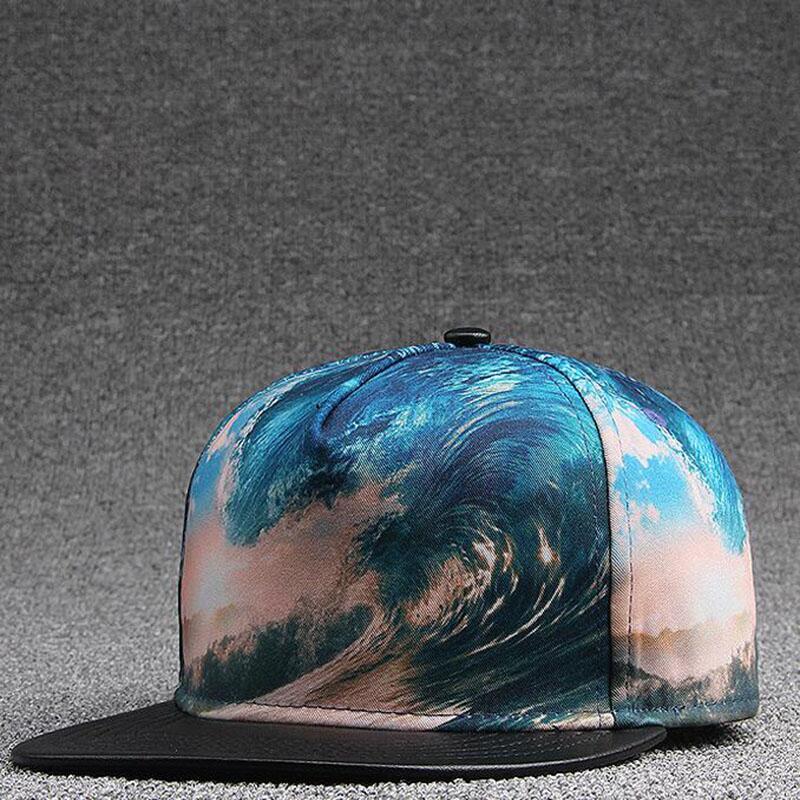 2017 Fashion Hip Hop Snapback Hats Hip-Hop Street Dance Gorras Hip Hop Cap Men 3D Thermal Print Waves 54-60cm
