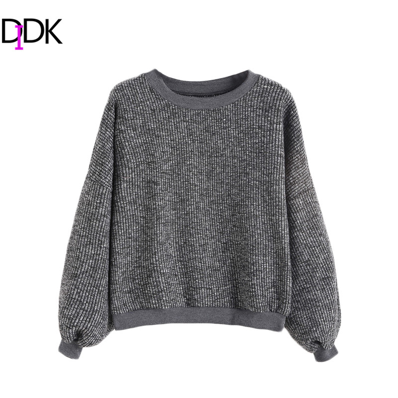DIDK Women Winter <font><b>Sweater</b></font> Ladies Casual <font><b>Pullovers</b></font> Dark Grey Drop Shoulder <font><b>Round</b></font> <font><b>Neck</b></font> <font><b>Long</b></font> <font><b>Sleeve</b></font> <font><b>Ribbed</b></font> <font><b>Sweater</b></font>