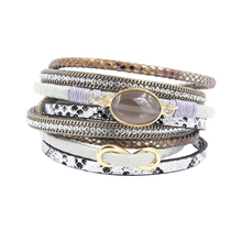 Fashion Women Trendy Rhinestone Set Natural Stone Set Magnet Buckle Wrap Leather Bracelet black/ grey/ pink/green/blue/beige