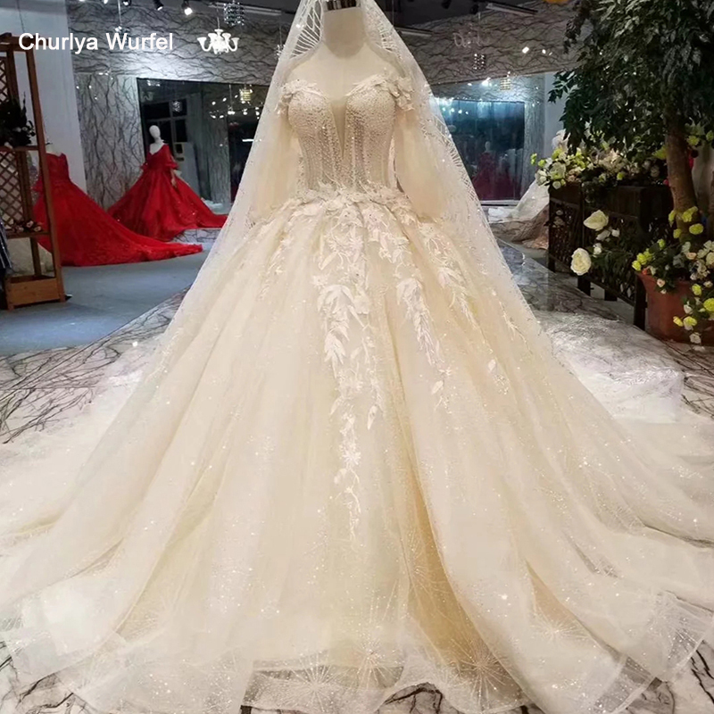 LSS319 Princess Flowers Wedding Gown With Wedding Veil Off The Shoulder Half Sleeves Wedding Dresses Ball Gown From Real Factory
