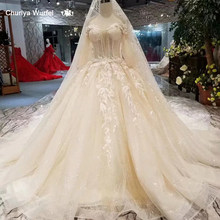 LSS319 princess flowers wedding gown with wedding veil off the shoulder half sleeves wedding dresses ball gown from real factory(China)