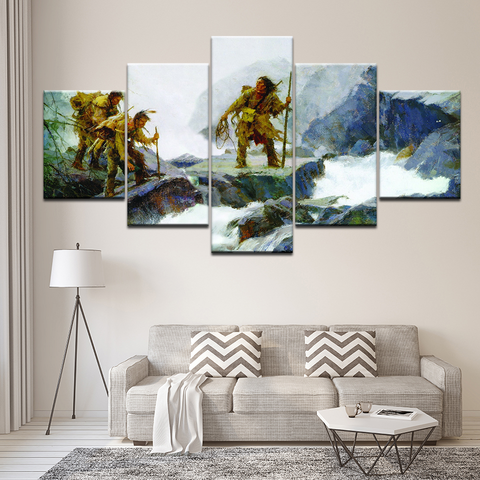 5 Pieces Native American Indians Modern Home Wall Decor