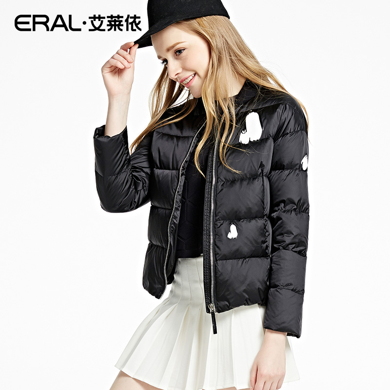 ERAL Womens Winter New 2016 Stand Collar Thickening Down Coat Short Slim Penguin Print High Quality Down Jacket ERAL12029-EDAA