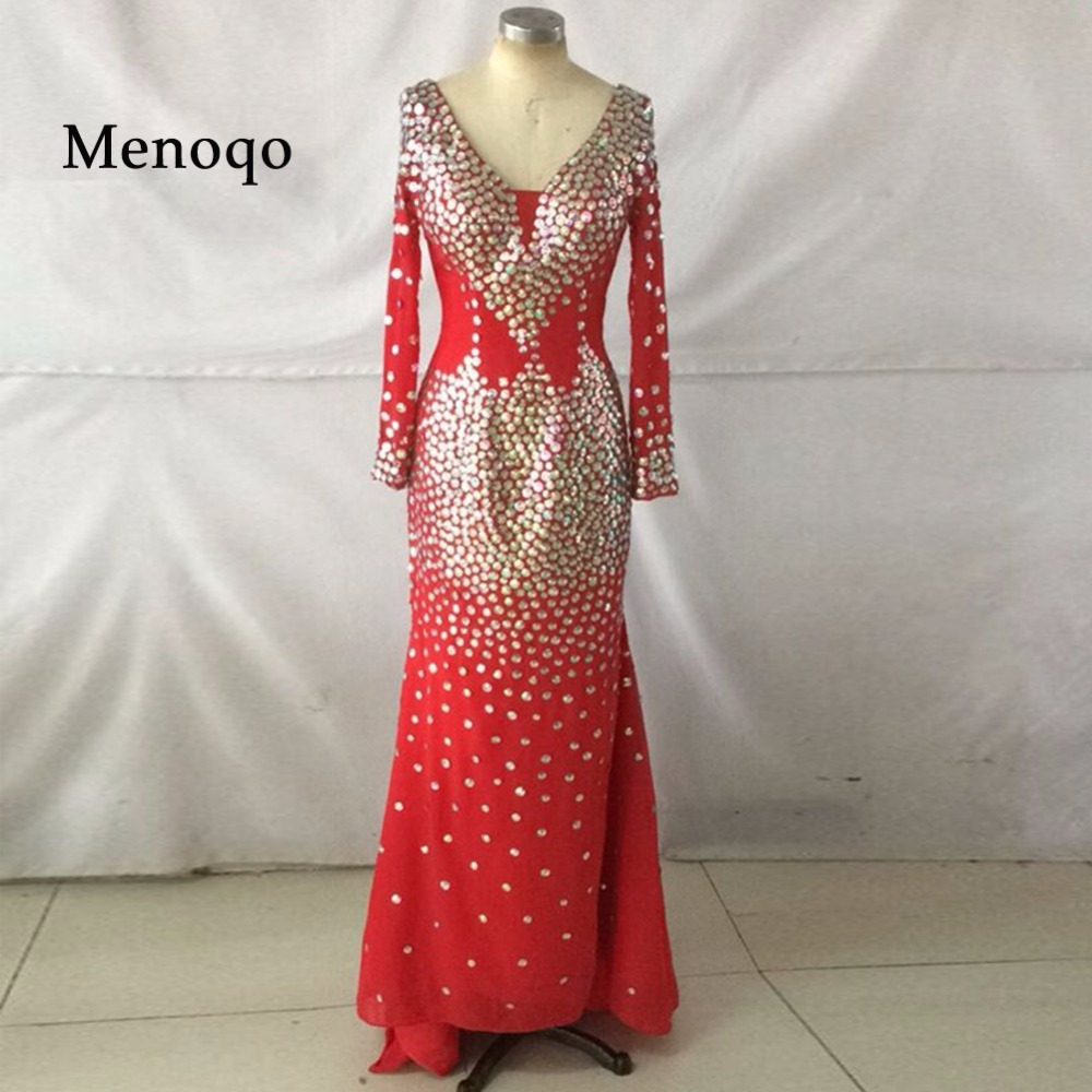 Menoqo Sparkling Blue or Red Mermaid V neck Rhinestones Long sleeve romantic sexy evening dress(China)