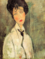 Woman In Black Tie By Amedeo Modigliani Replica Oil Painting 48 HUGE Hand Painted Painting Accept