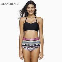 ALANSBEACH Swimwear Women Bikini Set High Waist Sports Swimwear Short Swimming Suit Bathing Suit Padded Beachwear