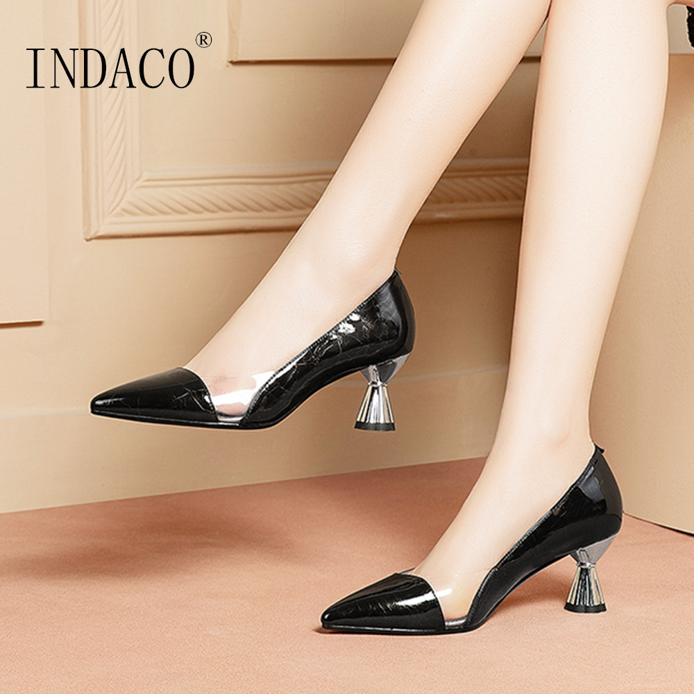 Women Shoes High Heel Pumps Leather Ladies Shoes Black Heels Pointed Toe Sexy Work Shoes Plus