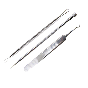 3pcs Acne Needle Tweezers Black Head Pimples Removal Pointed Bend Head Face Care Tools Blackhead Comedone Acne Extractor Beauty 2