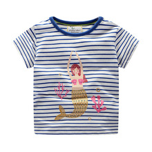 baby clothes T-shirt girls top clothing cotton Striped mermaid children clothes short-sleeved T-shirt 2019 summer new fashion недорого