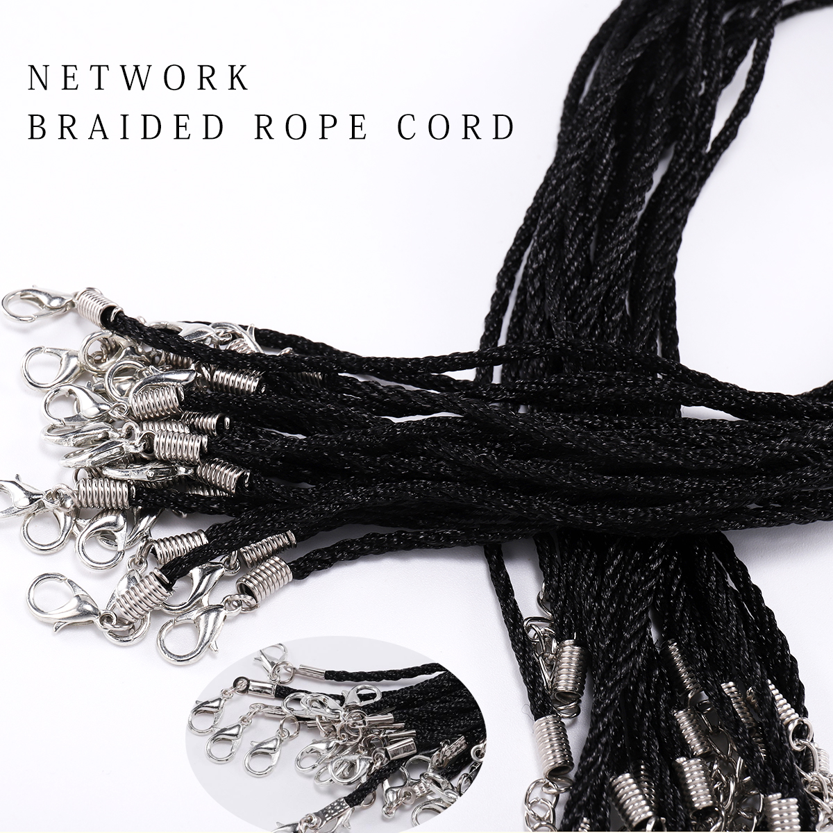 10pcs 1.8mm Handmade Adjustable Braided Rope High Quality Nylon Cord Necklace Pendant Charms Findings Lobster Clasp String Cord