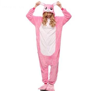 Adult Anime Kigurumi Onesies Pink rabbit Costume Women unicorn Cartoon Animal Easter Bunny Pajamas Sleepwear Flannel home Girl