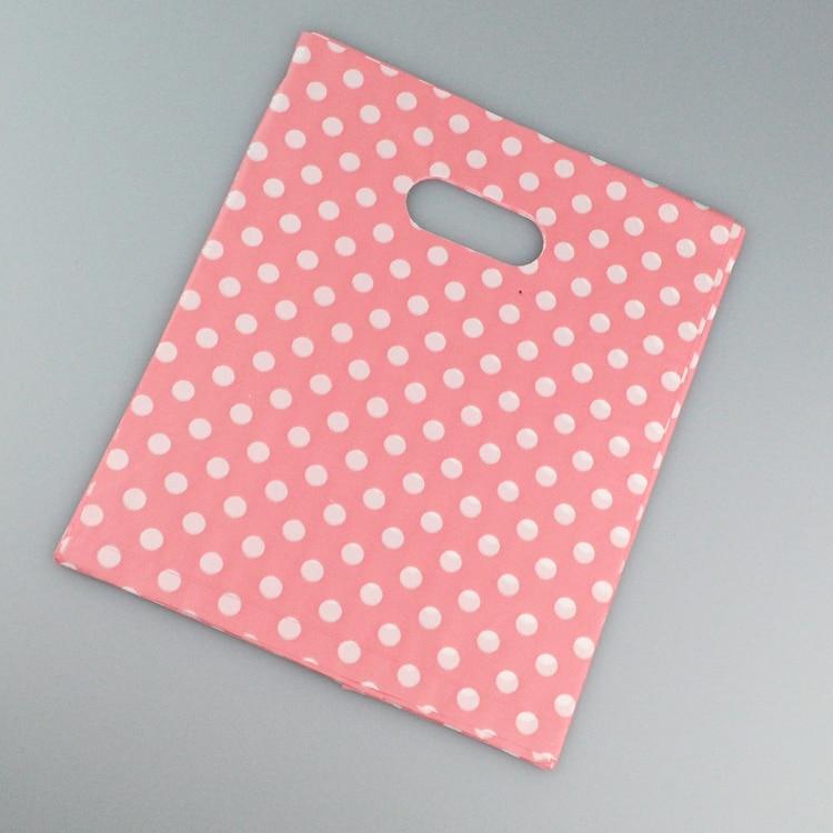 Пластиковые пакеты в белый горошек, 100 шт./лот, розовые пластиковые пакеты 20x25 см, изысканные подарочные пакеты, подарочные пакеты для ювелир...