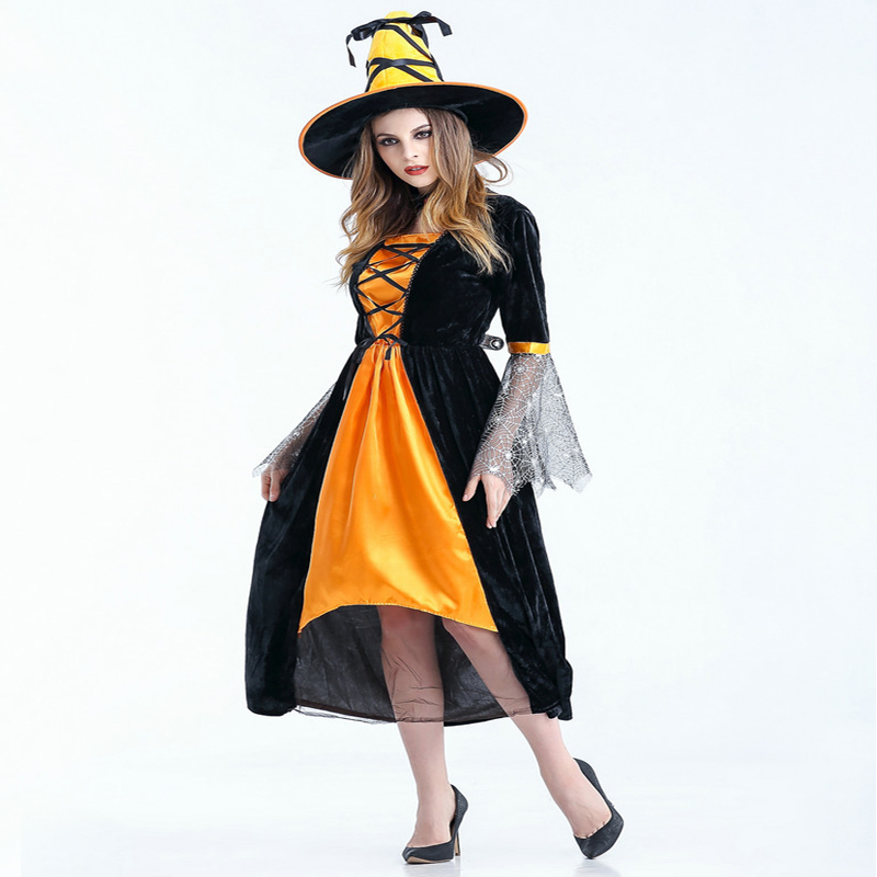 Free shipping Witch Costume Halloween costume adult Cosplay female witch dress black gauze long for women