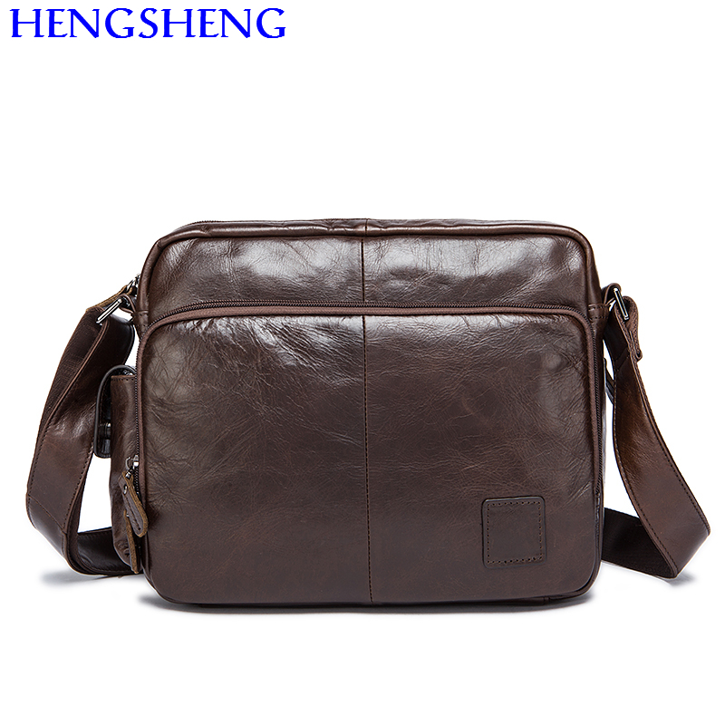все цены на Hengsheng promotion 8876 cross men shoulder bags with top quality genuine leather messengers bag by cheap price men cow bag