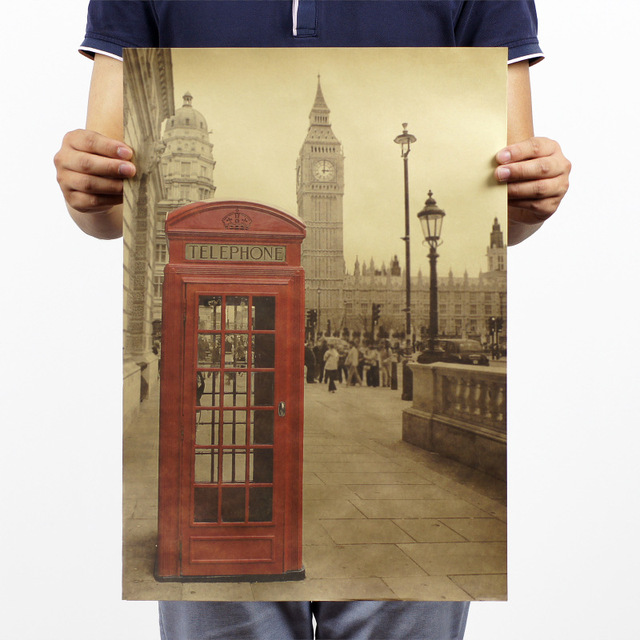 Vintage UK London red phone booth Kraft Paper Poster Home Decoration ...
