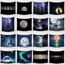 Hot sale beauty moon night landscape large tapestry Wall Hanging Printed home decoration bedroom