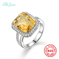 L Zuan Sterling Silver Jewelry Ring Natural Citrine Yellow Luxury Models Square Cluster Prong Setting Rings