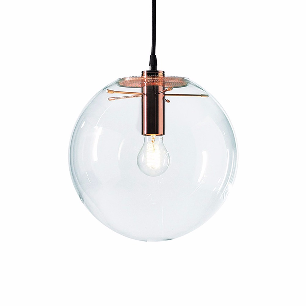 Decorative Rose Gold Black globe Glass Pendant Light Clear ...